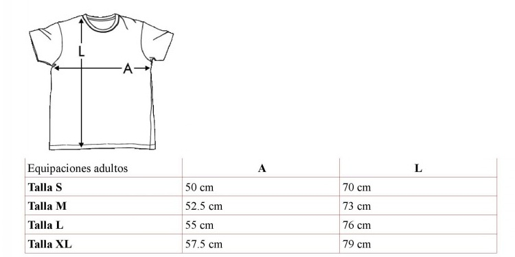 talla camisetas fútbol adultos