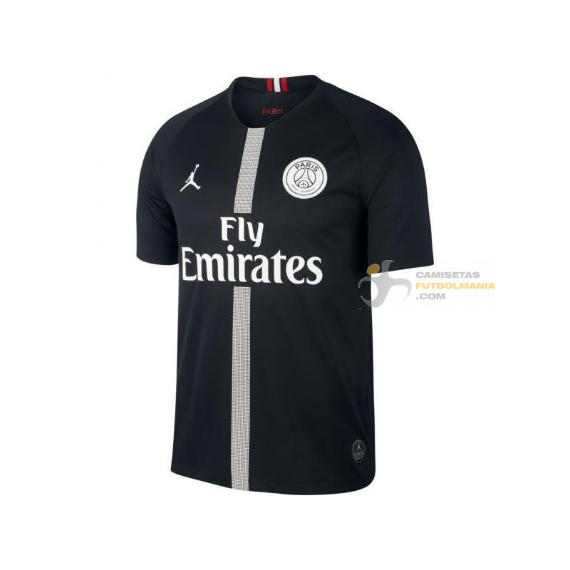 Camiseta Paris Saint Germain Tercera Equipacion Negra Version Air Jordan Champions League 2018 2019